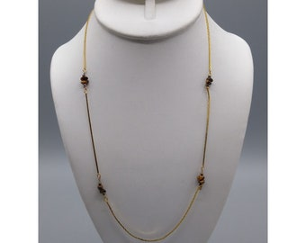 Tigers Eye Chips Station Necklace, Natural Gem Stone on Gold Tone Chain, Vintage Gemstone Chip