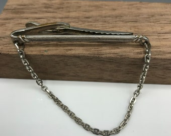 Hickok Silver Plate Tie Bar Slide with Chain, Art Deco Tie Clip, Vintage Mens Accessory