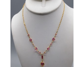 1928 Pink Heart Crystal Necklace, Gold Tone Vintage Scroll Chain with Bezel Set Lavalier