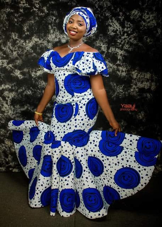 Blue and White African Dress