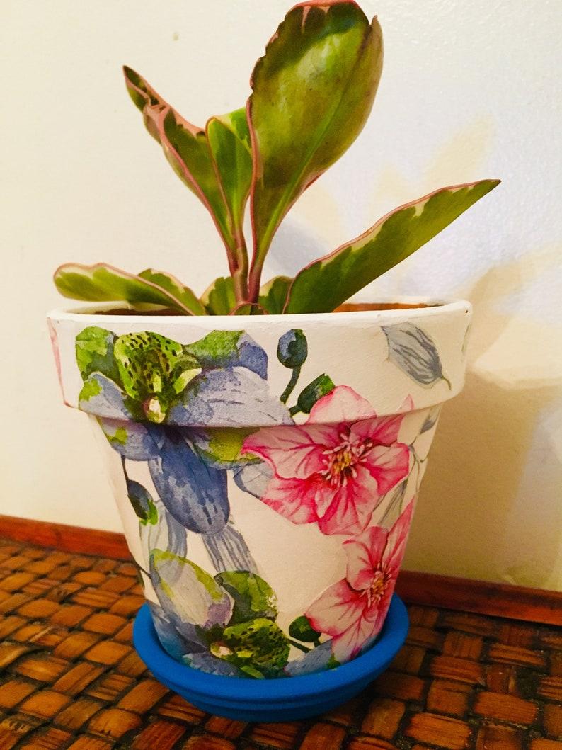 Floral Hummingbird Decoupaged on 5.5/' Terra Cotta Pot