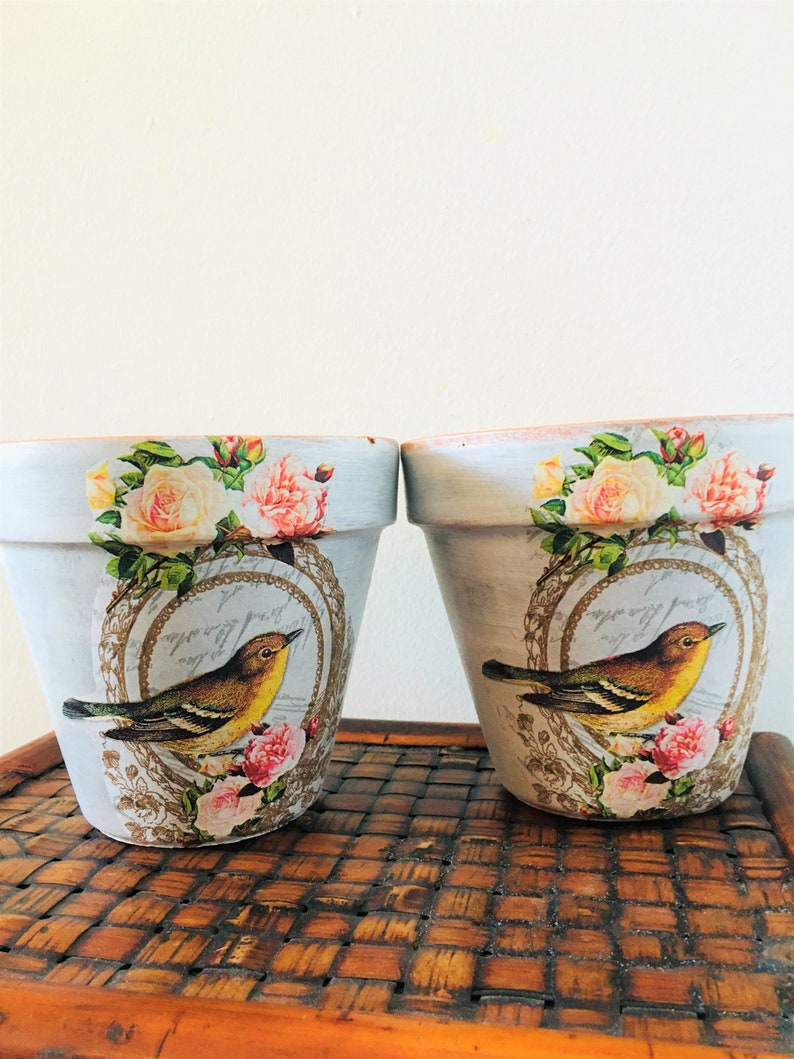 Vintage Bird and Roses Lunch Decoupaged on 5.5 Terra Cotta Pot