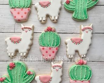 Llama and Cactus Sugar Cookies