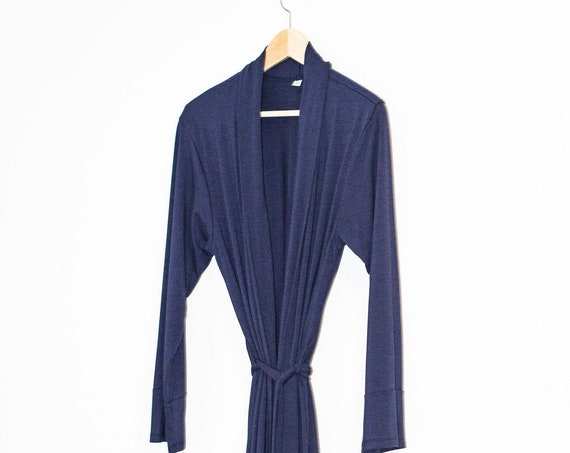 The Bamboo Robe - Navy Blue, Loungewear, House coat, slinky robe, long robe, cotton robe