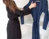 The Bamboo Robe - Navy Blue (Loungewear, Housecoat, robe, long robe, cotton robe, ladies robe, women 39 s robe, blue robe, robes for women)