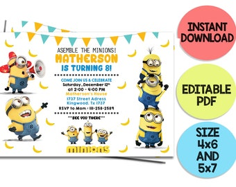 Minion Birthday Invitation Party MinionS Invites 1st 2nd Despicable Me Printable Any Age