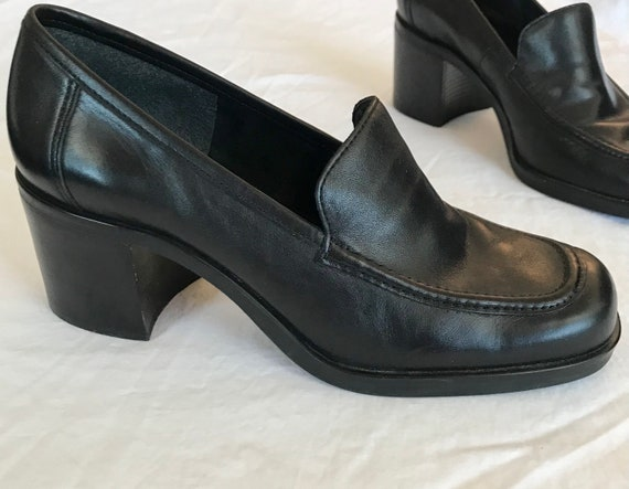 Vintage 90s Black Chunky Leather Loafers | Nine We