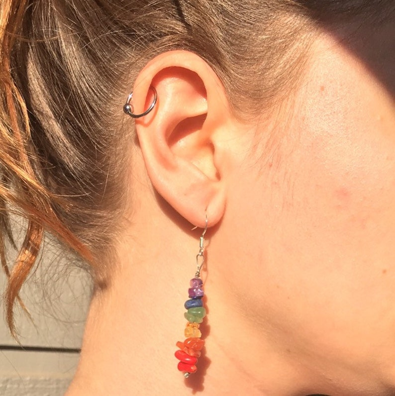 Natural Stone Rainbow Earrings with Sterling Silver Ear Wires  Irregular Stone Pebbles  Rainbow Jewelry