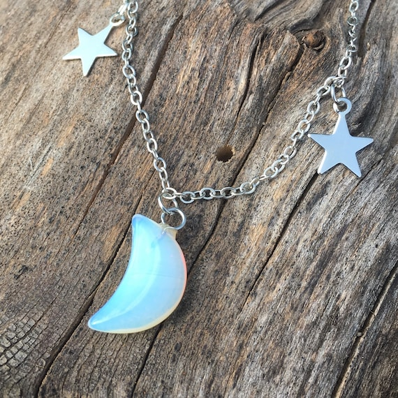 Opalite Star Choker with Silver Accent Stars  Semiprecious Opal Glass Gemstone Adjustable Silver Choker  Celestial Jewelry