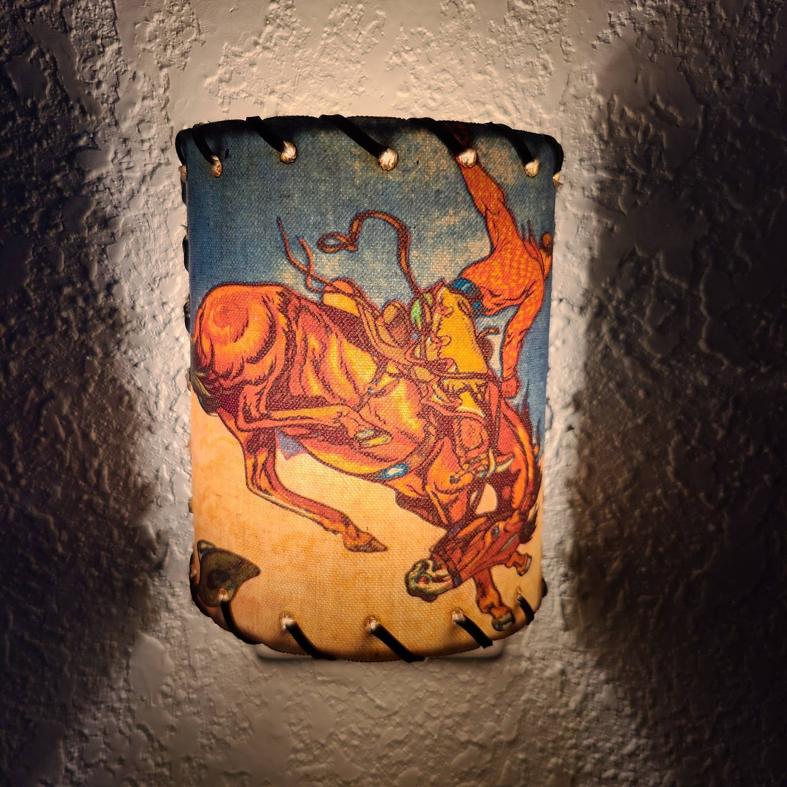 Vintage Cowboy Horse Rider Plugin Night Light - Leather Weave Frame