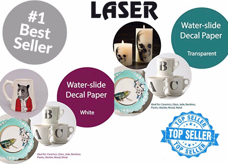 10 Sheet CLEAR INKJET Waterslide Decal Transfer Paper for personalized candles