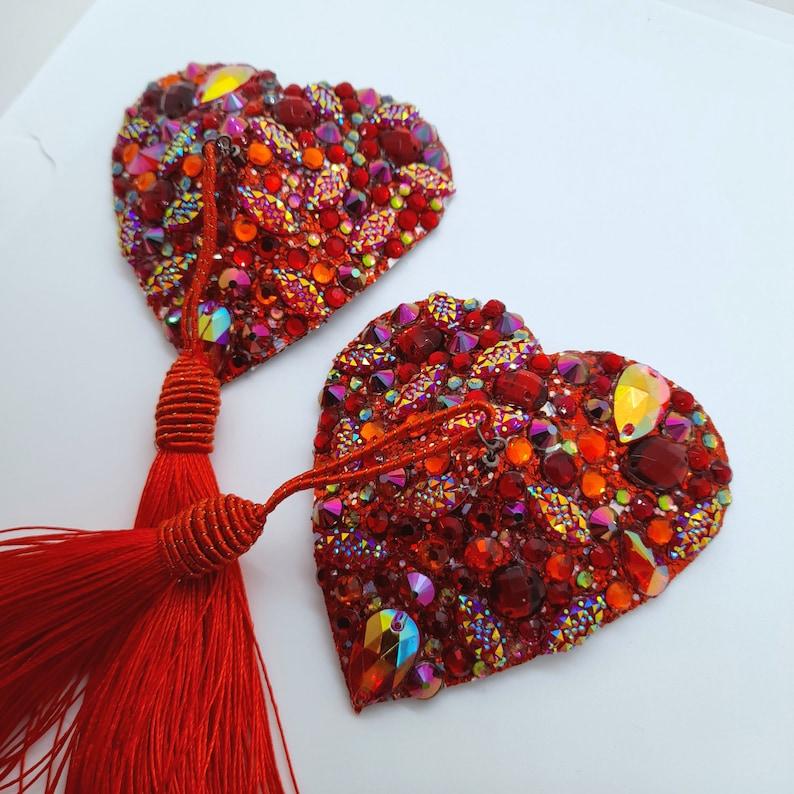 bridal festival crystal nipple covers pasties Red Heart Burlesque nipple tassels