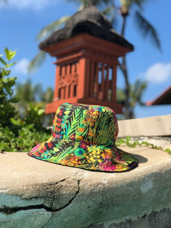 washable ponytail Bucket Hat Liberty of London Reversible Wild Flowers fabric sun reversible womans style with dark grey cotton drill