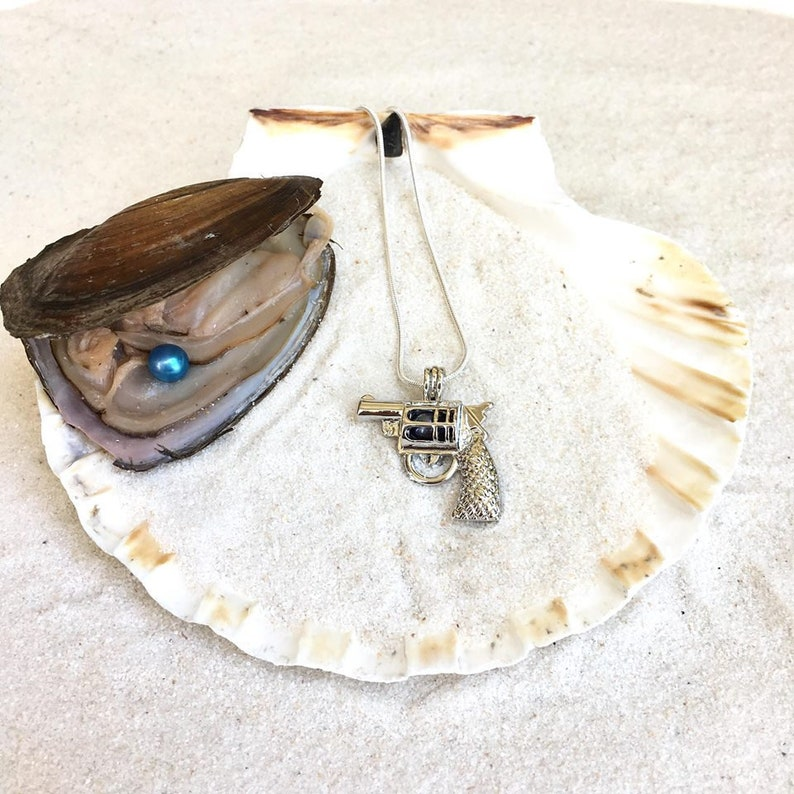 freshwater oyster Pistol Gun Cage Necklace /& Pearl DIY kit Pistol Gun cage that will also includes a necklace of your length choice