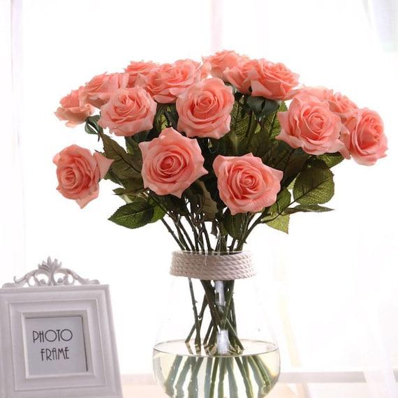 10 Faux Long Rose Stems Floral Arrangements DIY Wedding Bouquet Artificial Flower Stems DIY Wedding Craft Supplies Floral Stems
