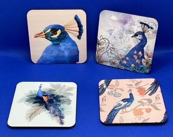 Set of 4 Peacock Coaster Set - birthday, anniversary, friend, teacher gifts, personalised coaster gift