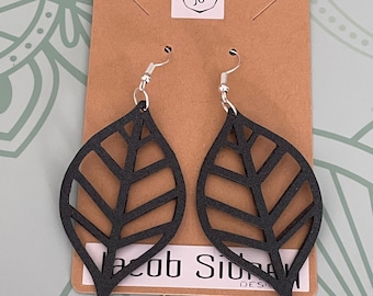 Faux Leather Earrings - large leaf design