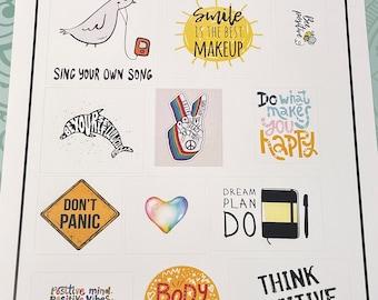 Set of 12 Positivity stickers