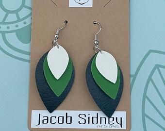 Faux Leather Earrings - triple drop design (white/green/black)