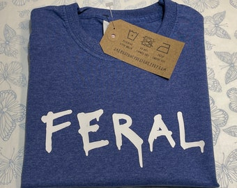 Kids Unisex T Shirt Blue - Feral (Also available in pink/white/black T shirts)