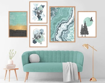 Scandinavian Artwork Modern Seascape Art minimalist gallery wall Mountain Art Set of 2 prints Living room Decor Birthday Gift