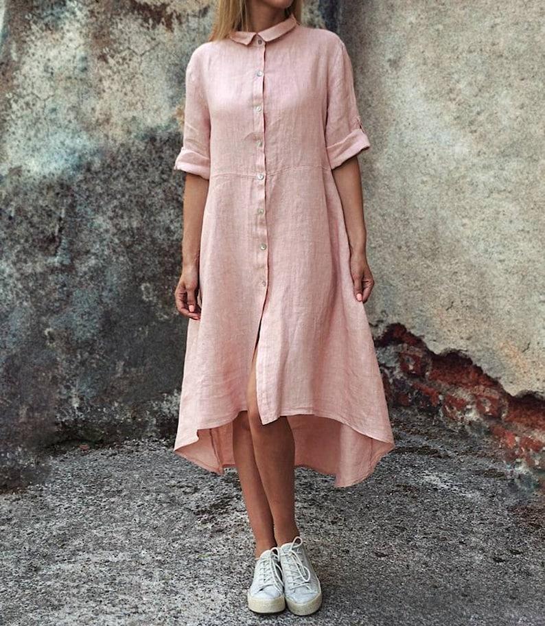 linen kaftan dress Linen maxi shirt dress beach cover up Long pink Linen shirt for women linen tunic Plus size linen shirt linen blouse