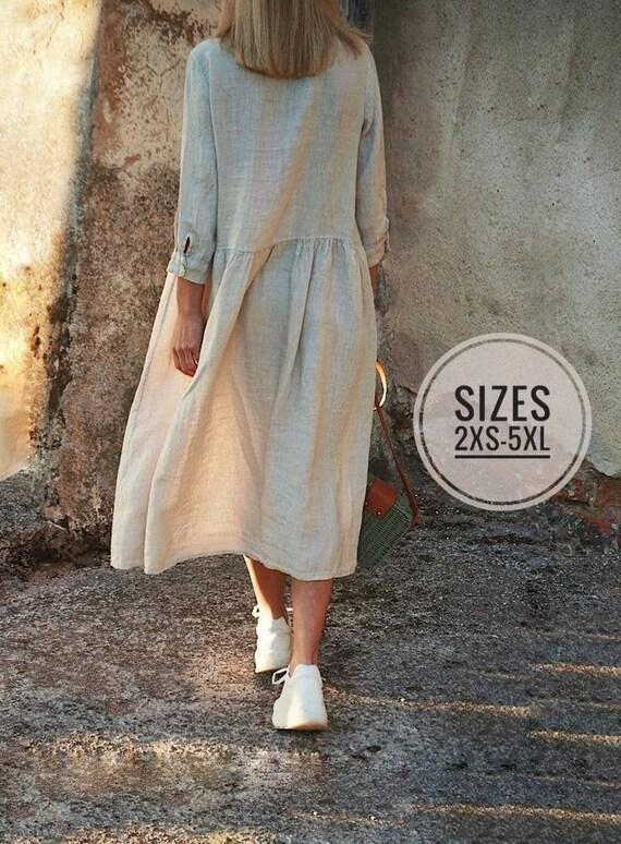 Linen Dress Smock, Ladies linen Dress, Natural Linen Dress, Linen clothing, Linen plus size dress, Linen oversize dress, Off white linen