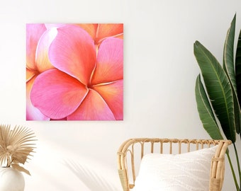 Painting pink Plumeria flowers Exotic perfume - exotic tropical decoration - wall painting on wood - original art work
