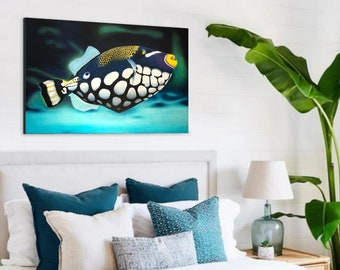 Exotic fish painting Ballista clown - exotic tropical decoration - wall painting on wood - original art work