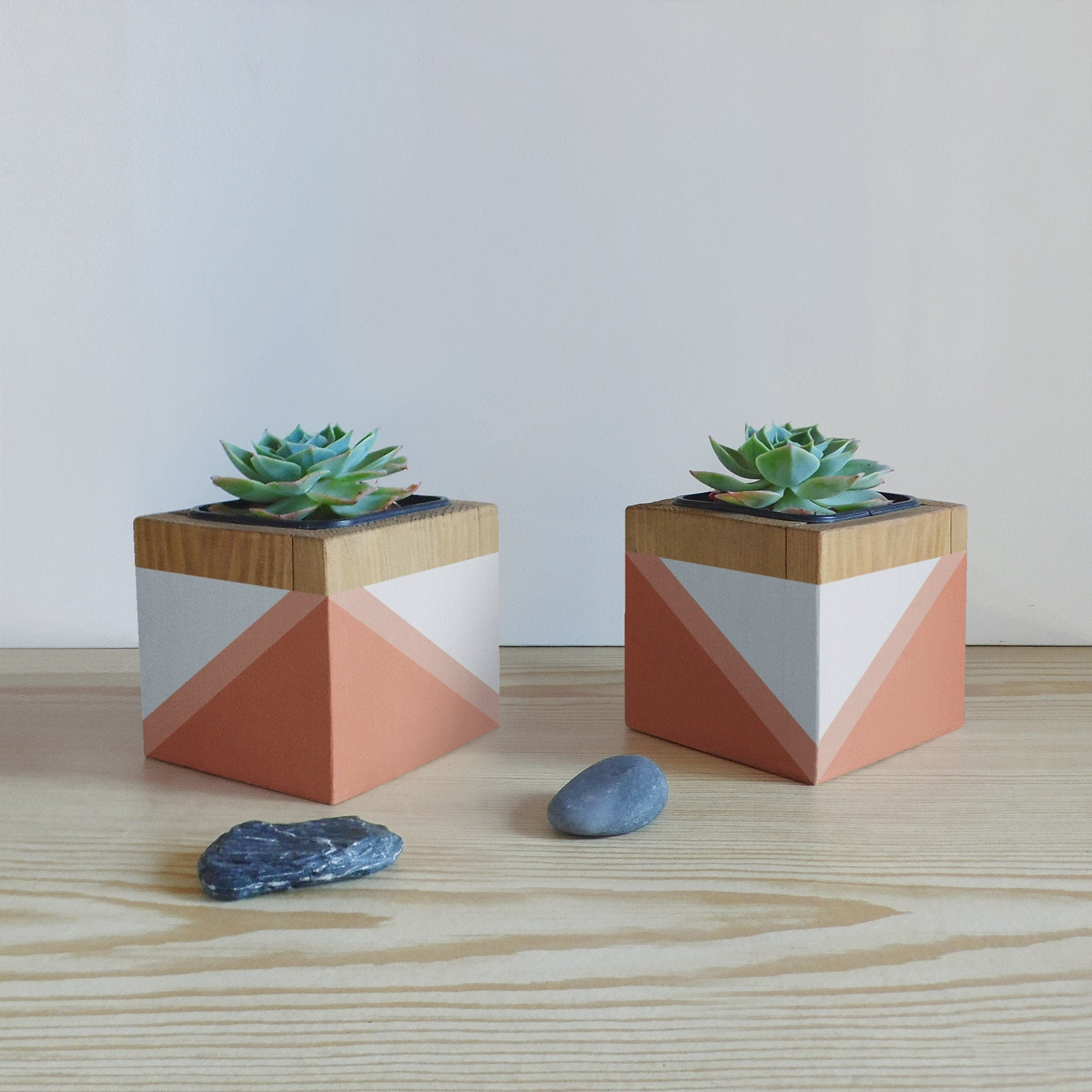 Planter Herbes Aromatiques Jardiniere wooden plant pot set for indoor plants , succulents , cactus - gifts for  plant lover
