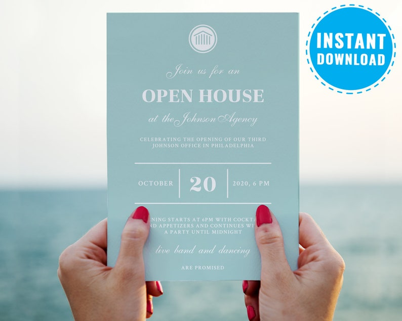 Open House Invitation Template Corporate Party Printable Company Event Graduation Business Invite 6014