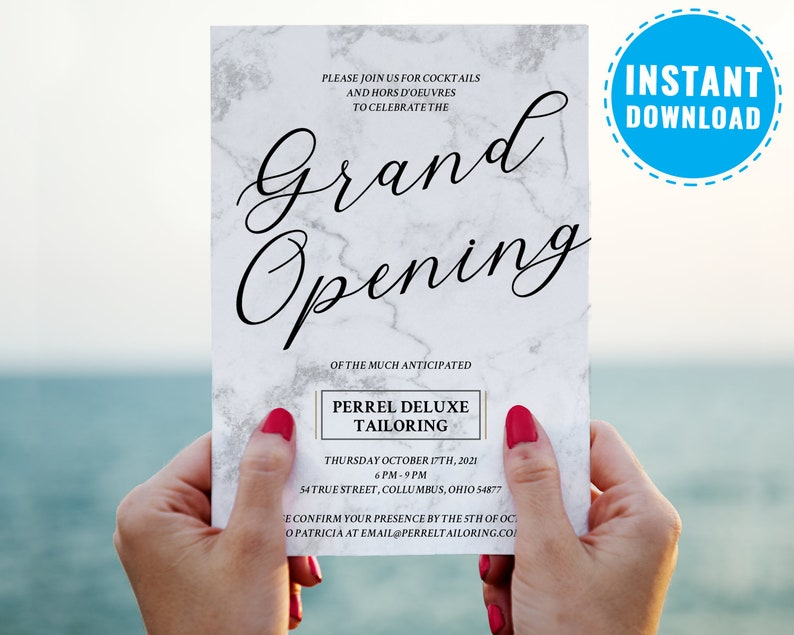 Grand Opening Invitations Business Invitation Template Corporate Party Company Event Marble 6003