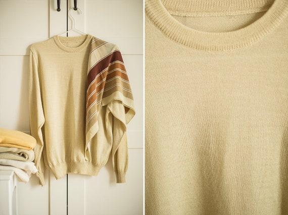 Beige wool Top | Casual vintage Top | Wool Shirt |