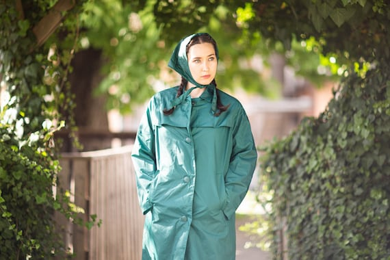 Vintage Raincoat | Oversized Nylon Coat | 70s Vint