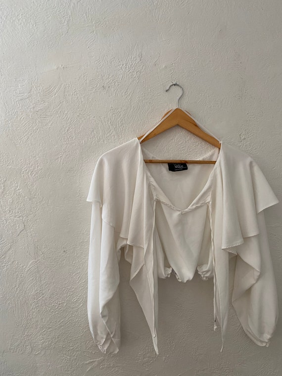 1980s VTG Balloon Sleeve Cropped Blouse, Size M/L