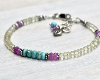 Genuine Turquoise beads and Natural pink sapphire Balance bracelet, Lemon quartz Gemstone Bracelet with Karen Hill tribe Small heart charm
