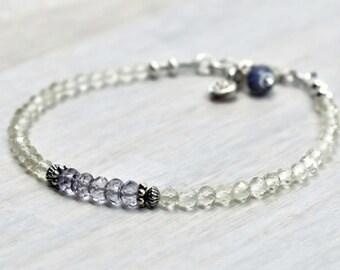 Blue and Lemon Quartz Adjustable crystal bracelet, Abundance jewelry with Natural iolite dangle, Reiki charged crystal bracelet Gift for her