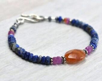 Carnelian Courage bracelet, Pink sapphire beads Lapis lazuli gemstone bracelet, Mixed gemstone beads Balance bracelet, Unique Boho bracelet