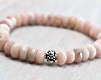 Pink Opal beads Bracelet, Real gemstone Mindfulness gift jewelry, Gemstone therapy Yoga teacher gift, Healing Bracelet, Spiritual stones