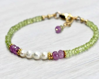 Unique Freshwater Pearl bracelet with Natural pink sapphire beads and Green Peridot crystals, Courage bracelet Birthaday gift for women