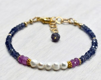 Pearl Crystal bracelet, Pink sapphire beads, Iolite beads Calming bracelet, Unique Natural freshwater Pearls & Mixed Gemstone Jewelry Gift