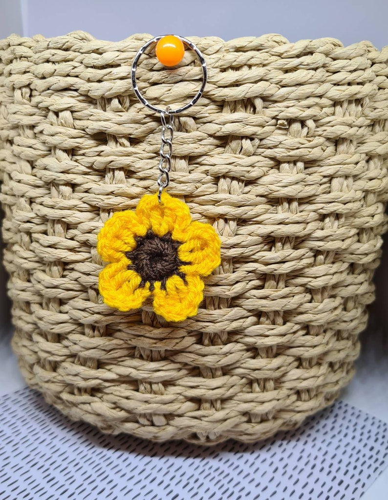 Crochet Small Sunflower Keyring
