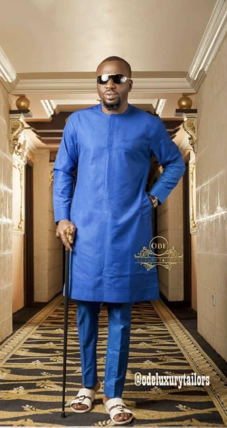Blue African Suit African Dashiki African Men clothing African Print for Men African Men Wedding African grooms men African Wedding