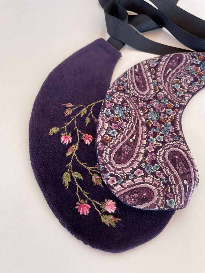 Purple Embroidered peter pan Collar Detachable Women/'s Collar Hand embroidered double sided collar 100/%handmade