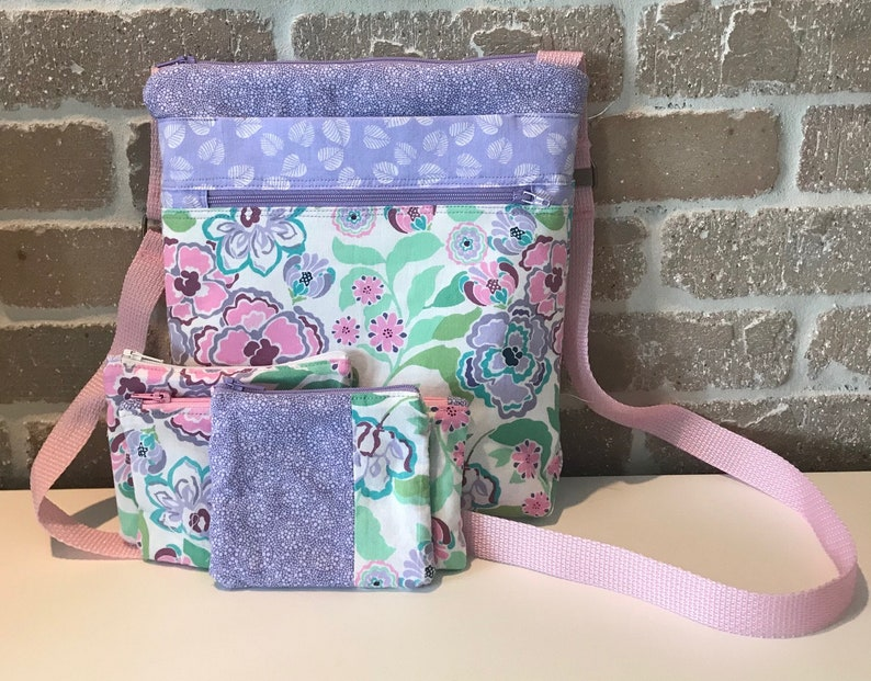 Lavendar Pink and Green Cross Body Bag with Accessory Pouches