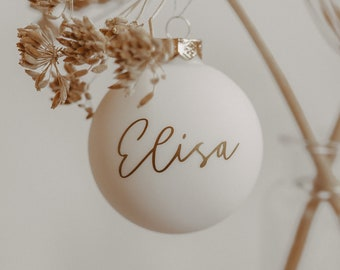 Personalized Christmas tree ball with names in black, white & glass   Tree ball   Christmas decorations   Christmas tree   Christmas   Ornament
