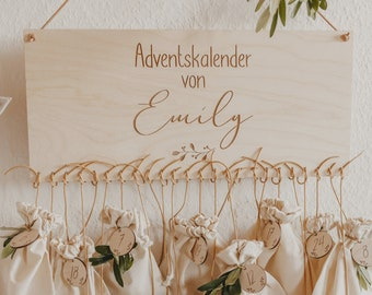 Personalized advent calendar with numbers from 1-24 - motif branch   DIY Advent Calendar  Christmas present  Fill the Advent calendar