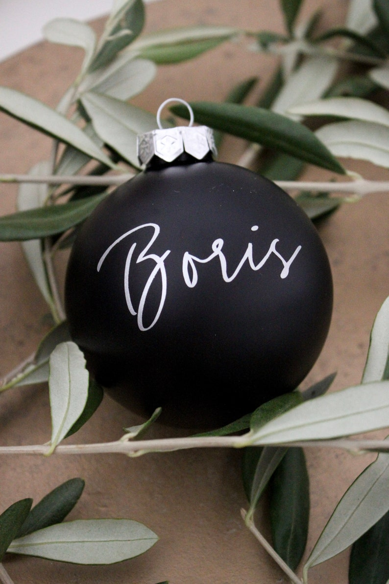 Personalized Christmas Tree Ball Black Matte Name In Black Etsy