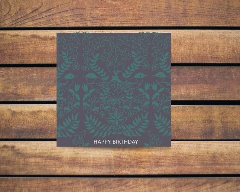 digital happy birthday Bird birthday cards for her instant download William Morris style birthday card Printable