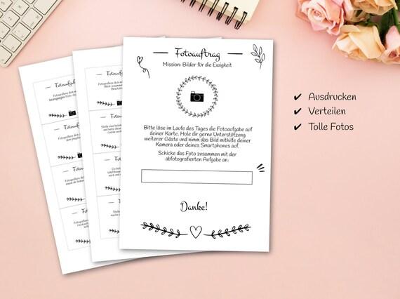 Hochzeitsspiel 56 Fotoaufgaben Als Pdf Zum Selbstdruck Etsy